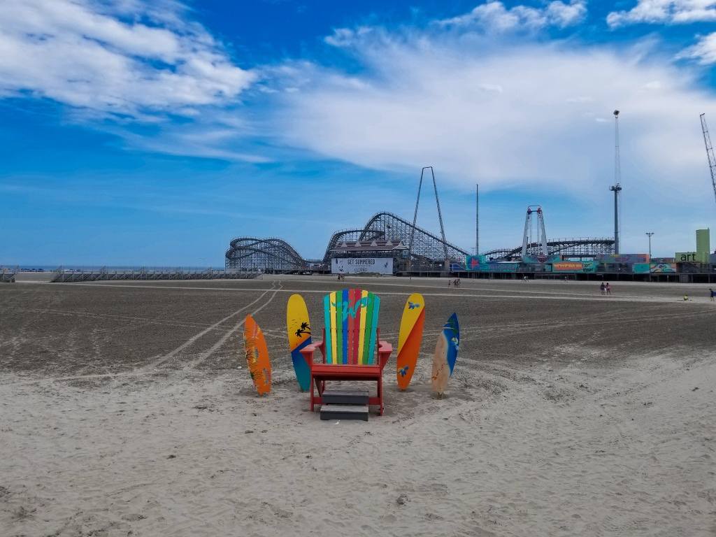 wildwood, boardwalk, new jersey, jersey shore, roller coaster, beach, chair,