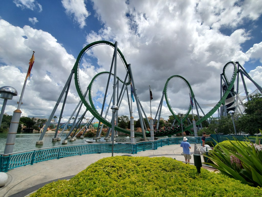Islands of Adventure, Universal Orlando, Florida, Theme Park, Incredible Hulk Coaster, Steel Roller Coaster, Inversions, Loops, Cobra roll, Corkscrews,