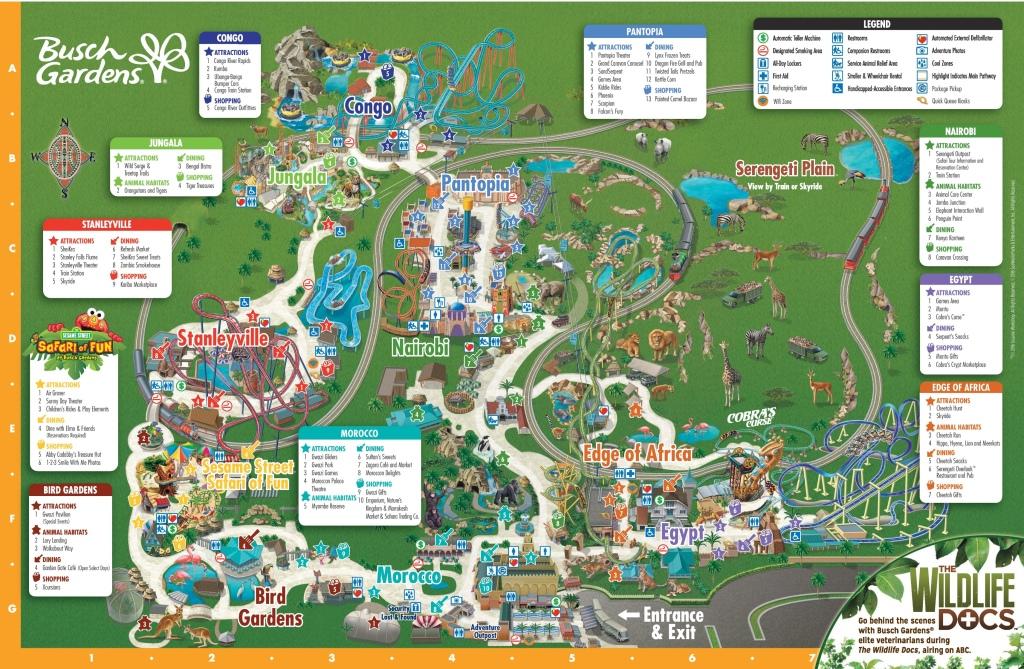 Busch Gardens Tampa Map, Theme Park, Florida,