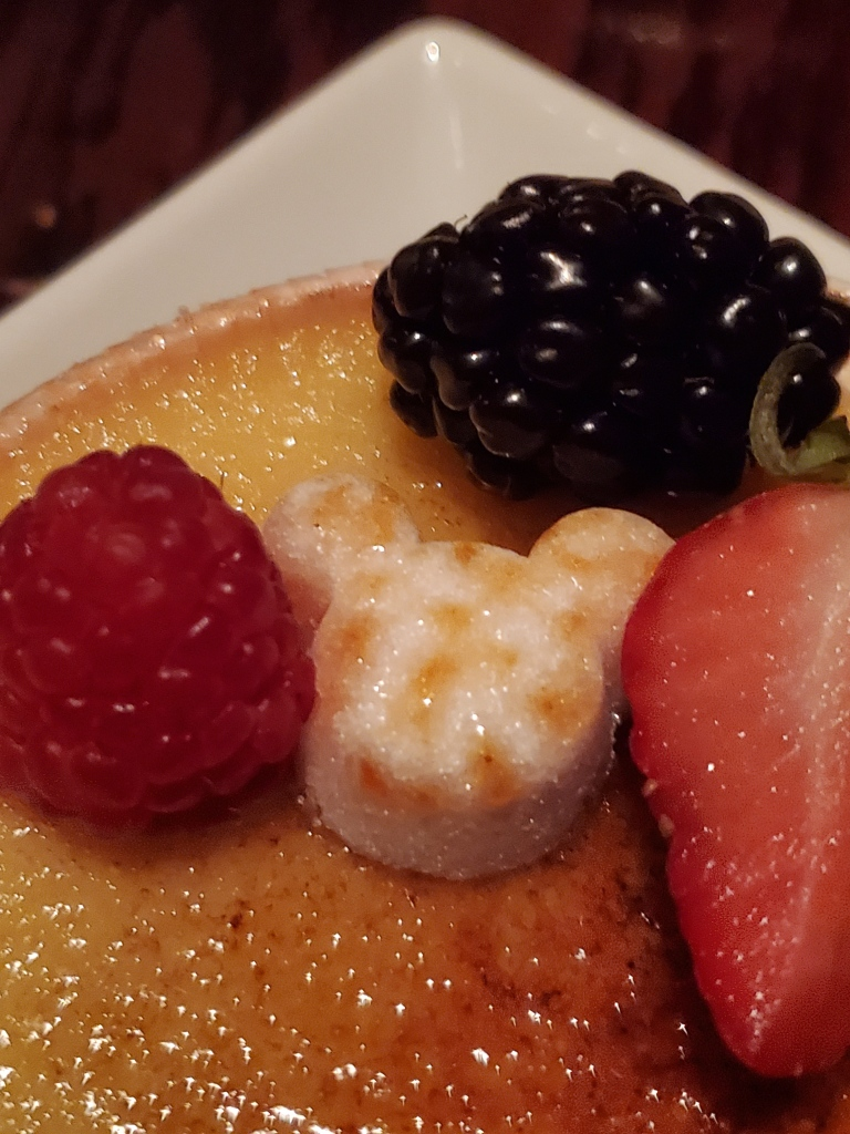 close up of the Mickey Shaped sugar cube on the Creme Brulee.