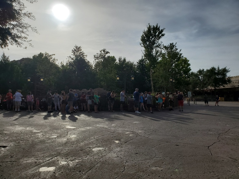Line before park opening to get on Seven Dwarfs Mine Train