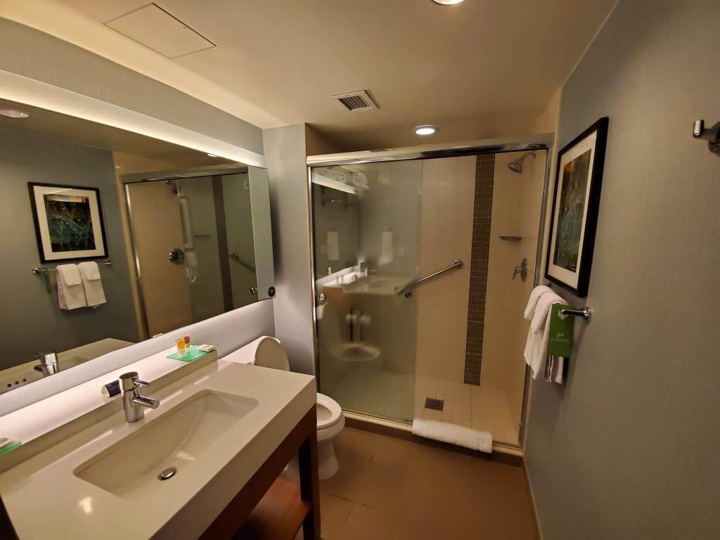 Hyatt Place, Washington DC, DC, Shower, Bathroom, toilet, sink, Hotel, Resort,