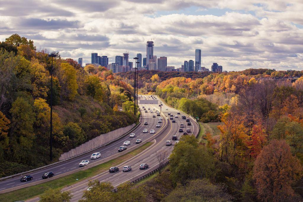 skyline, road trip, car