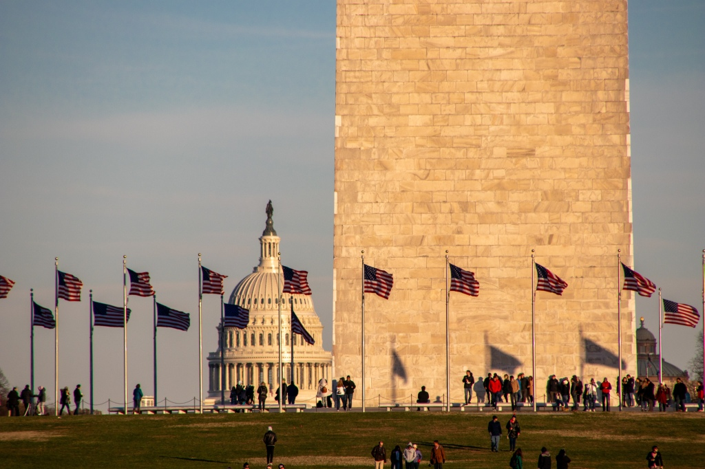 Sunset, Flags, Washington DC, Capital, USA, America, Travel, Vacation, road trip, Capitol Building, Washington Monument, crowds,
