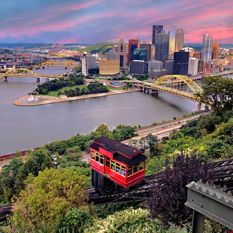Duquesne Incline In Pittsburgh overlooking the three rivers