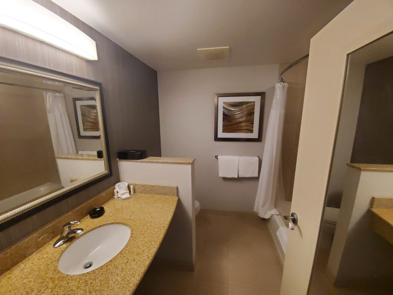 Hotel Bathroom at the Courtyard by Marriott Pittsburgh Greensburg in Western Pa.