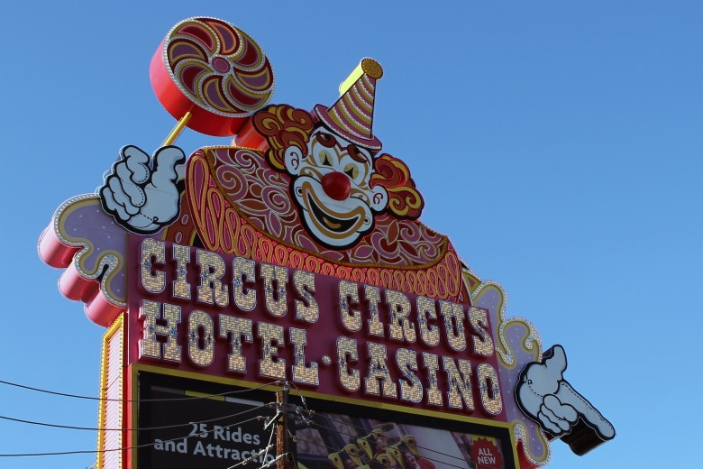 Sign of the famous Circus Circus Casino home of the largest free daily circus