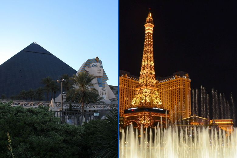 Luxor and Paris hotels on the Vegas strip