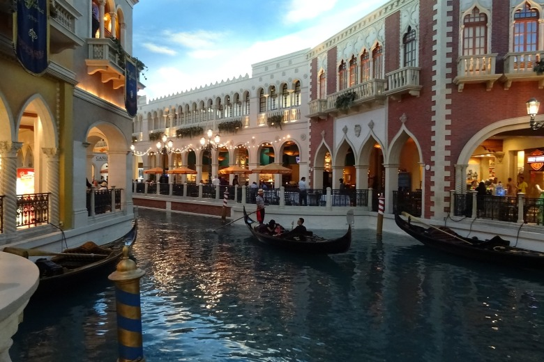 Gondolas thru the canals of the Venetian Hotel and Resort in Las Vegas