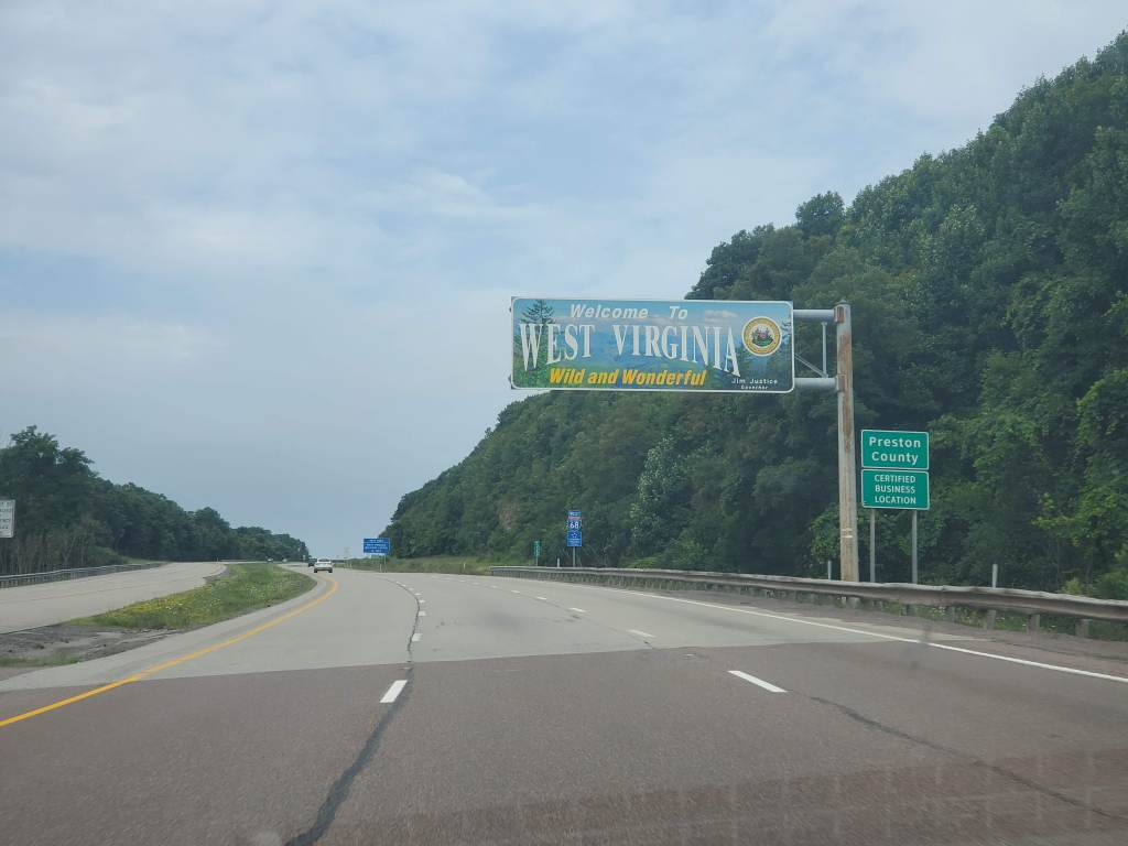 West Virginia Welcome Sign, Road Trip, Highway, Preston County WV,