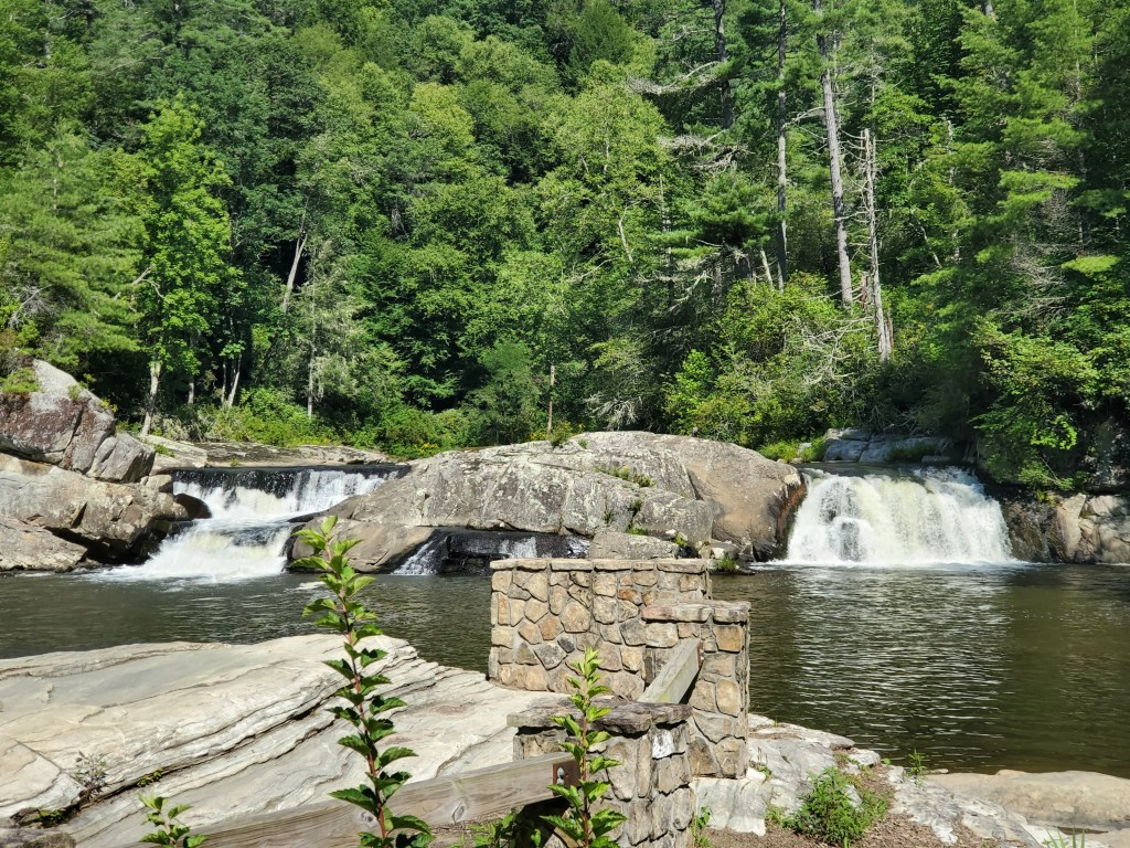 two small waterfalls at Linville Falls in North Caroline off the Blue Ridge Parkway