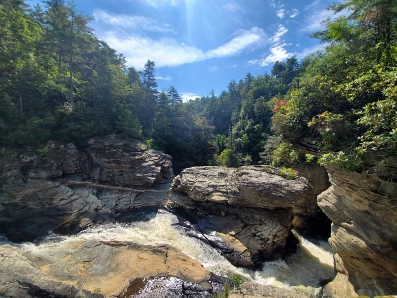 rushing water at Linville Falls