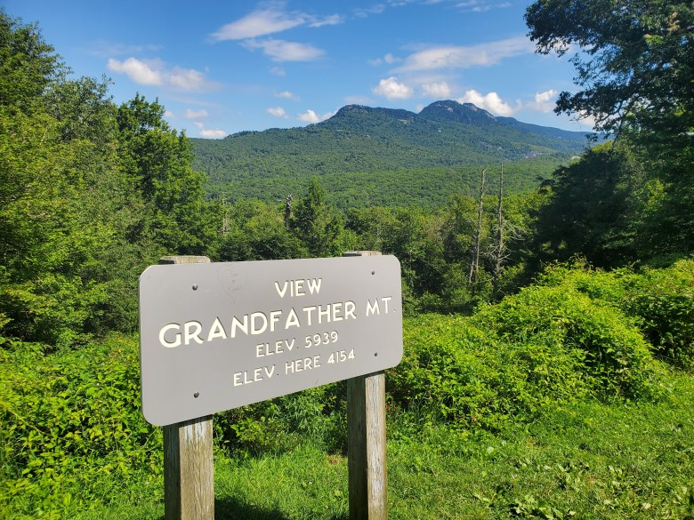 View of Grandfather Mountain on the Blue Ridge Parkway