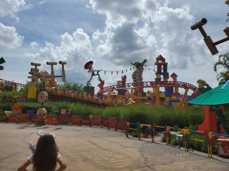 Toy Story Land in Hollywood Studios view of Slinky Dog Dash coaster