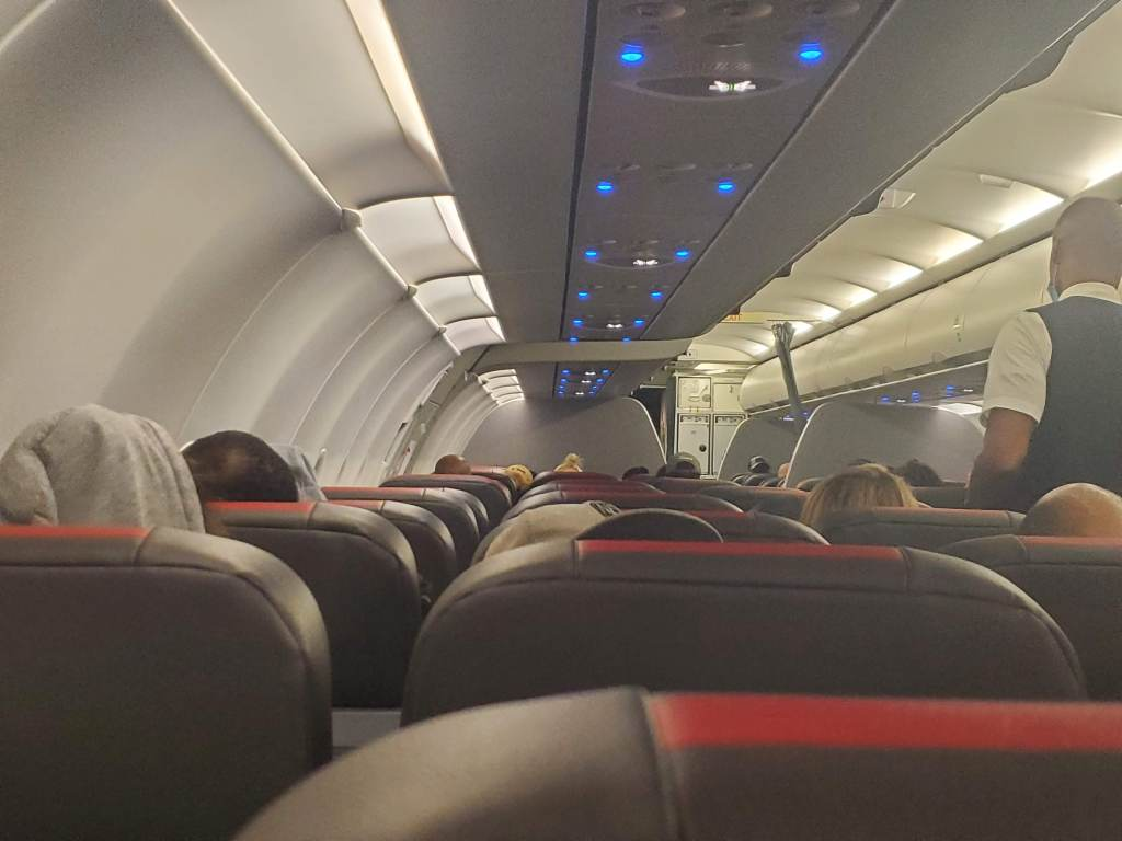 Almost full American Airlines flight.
