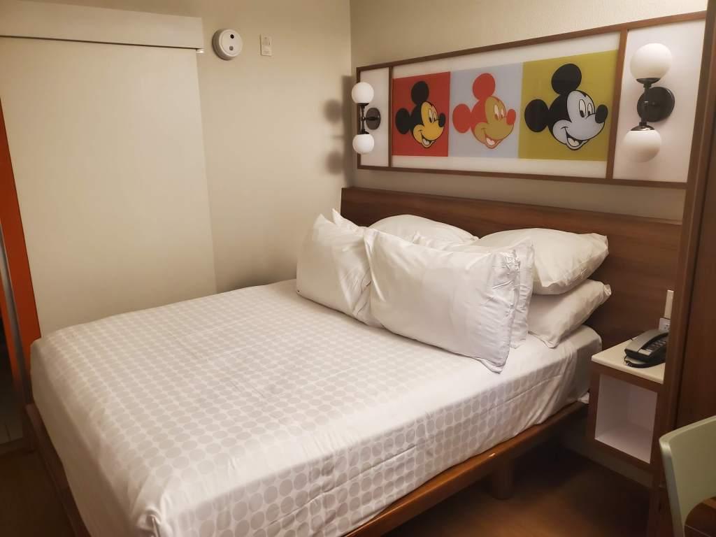 Queen bed at POP Century Resort