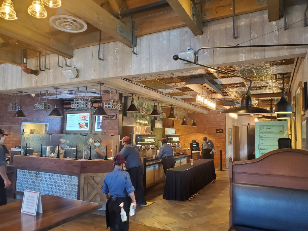 Waiting area for Deluxe Burger in Disney Springs