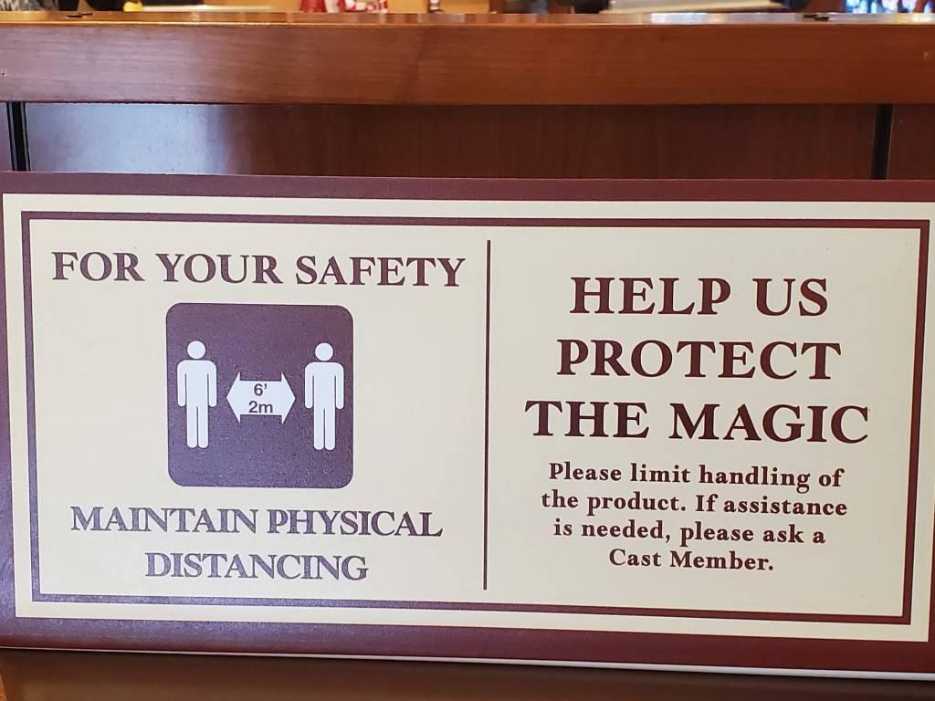 Physical Distancing signs at Walt Disney World