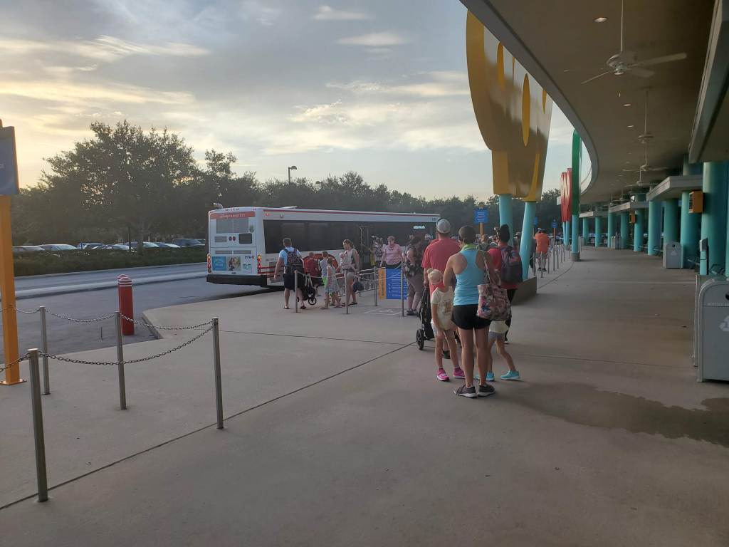 Line for Animal Kingdom bus at POP Century Resort