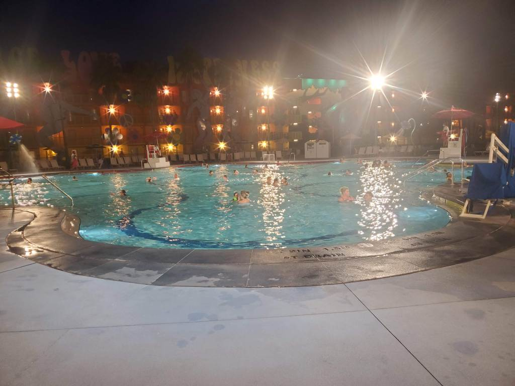 POP Century pool at night