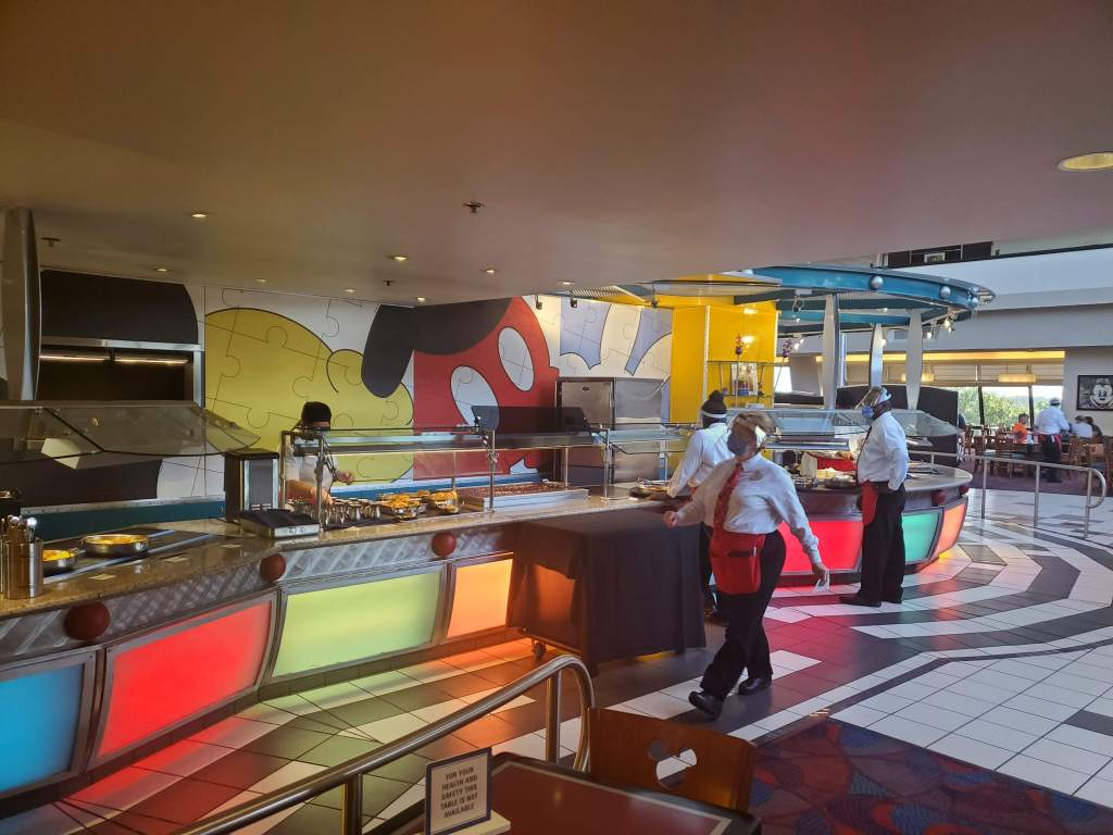 Buffet area at Chef Mickey's