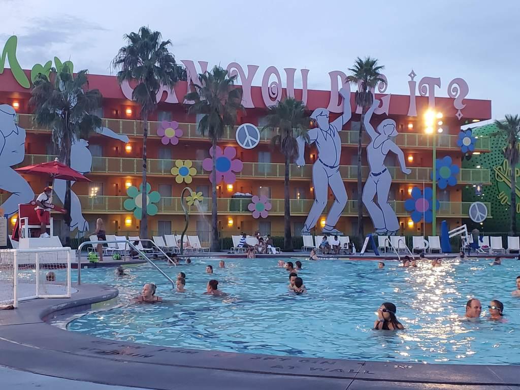 POP Century Pool at Night time