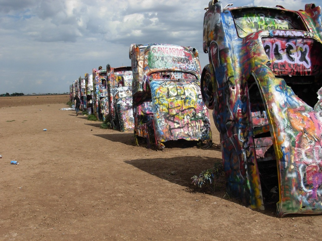 Cadillac Ranch, Route 66 stop, graffiti, roadside attraction, road trip,
