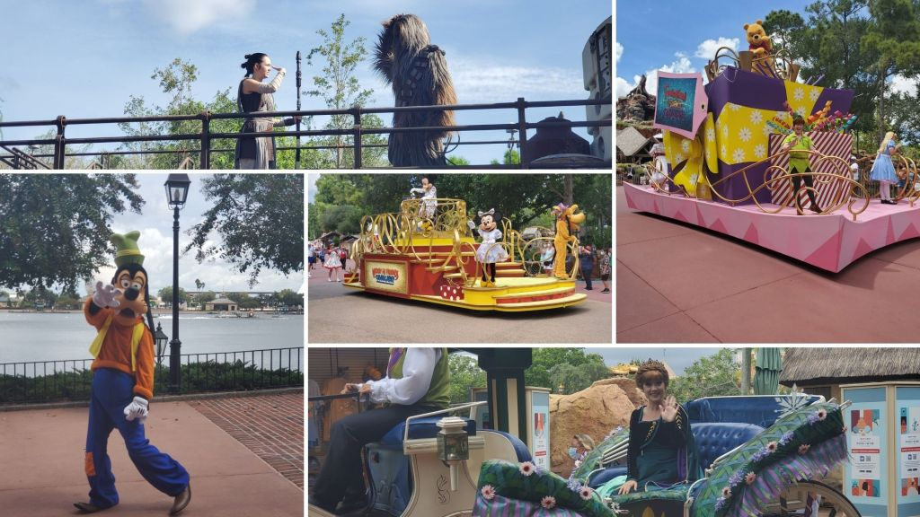 Cavalcade, Magic Kingdom, EPCOT, Hollywood Studios, Characters, Mickey, Minnie, Goofy, Chewie, Pooh, Peter Pan, Alice in Wonderland,