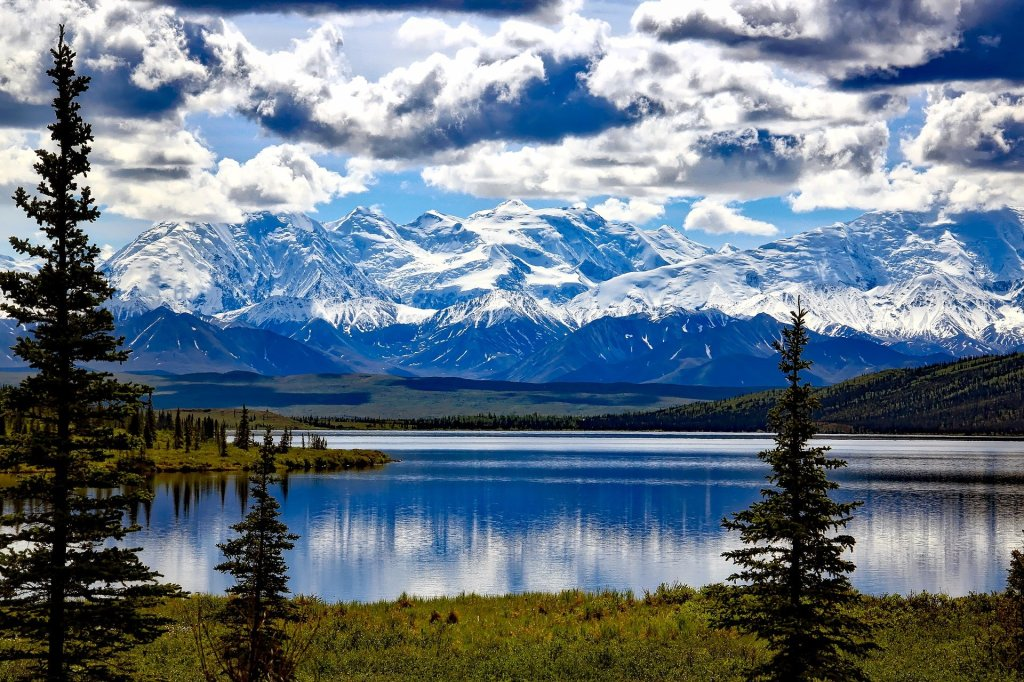 Denali National Park, Alaska, North America, mountains, lake, trees, snow covered, scenic,