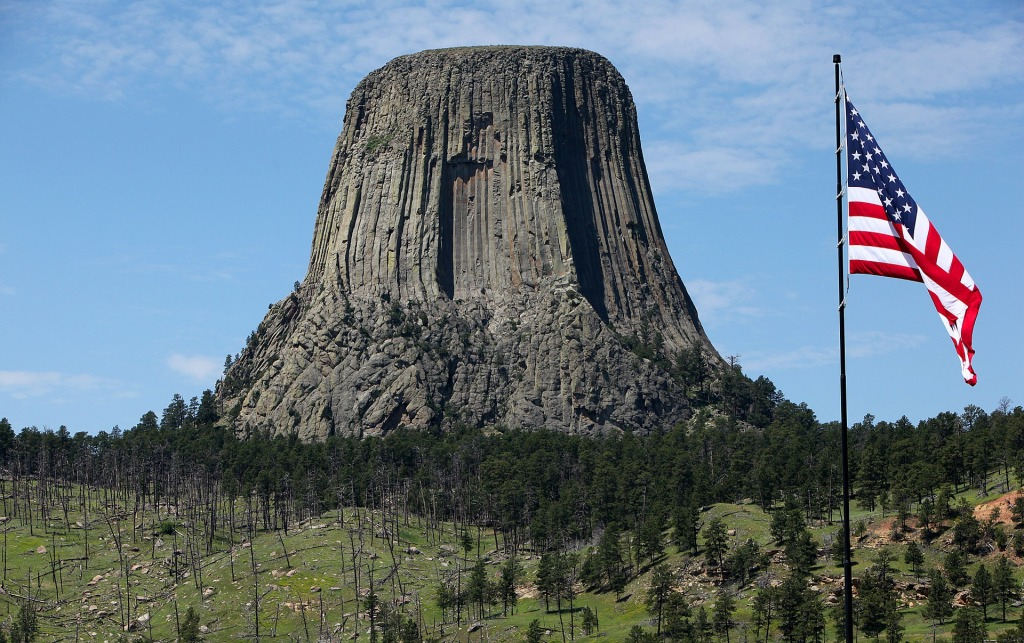 US Flag, Devil's Tower, Wyoming,