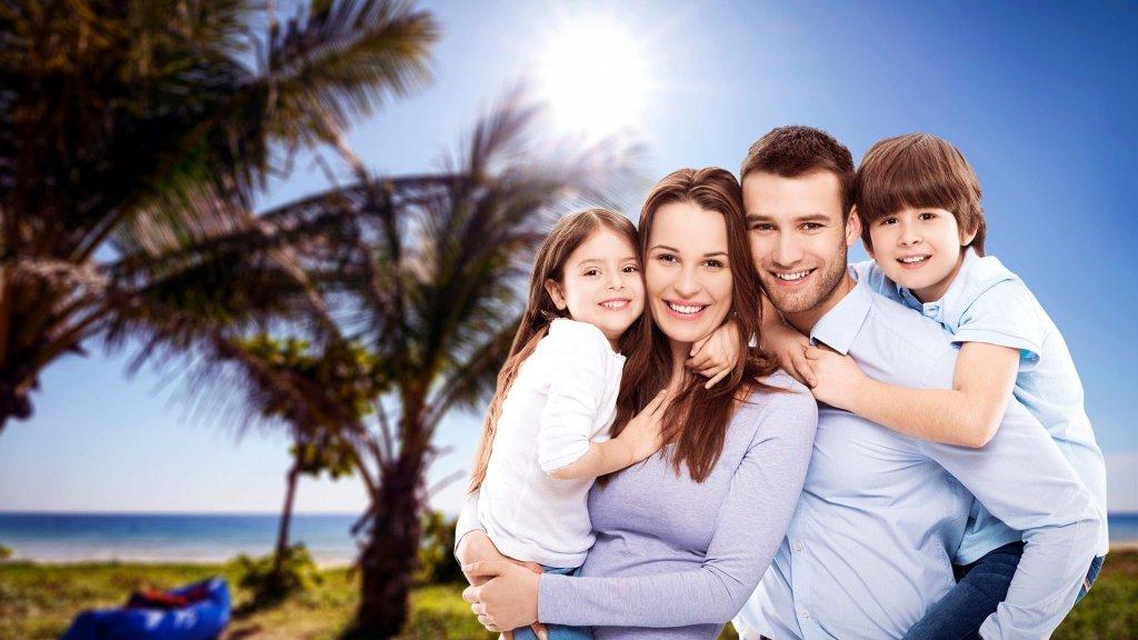 family portrait, man, woman, kids, boy, girl, fake,