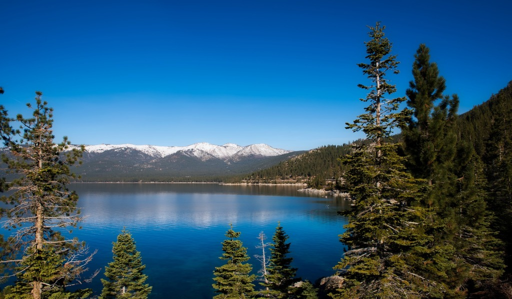 Lake Tahoe, California, Nevada, scenic, mountains, snow covered, alpine lake, west coast, united states, North America