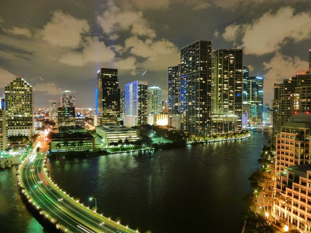 Miami, florida, Skyline, nighttime, east coast, United States,