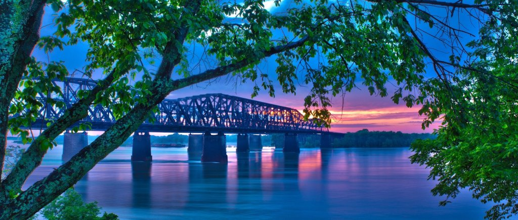 Mississippi River, Bridge, Sunset, water,