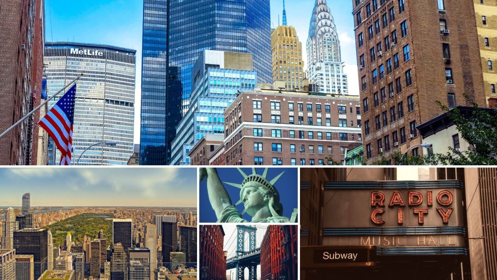 NYC, New York City, Statue of Liberty, Radio City Music Hall, Brooklyn Bridge, Empire State Building, Central Park,
