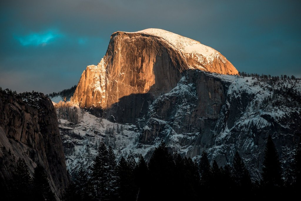 snow covered, mountain, Yosemite National Park, California,