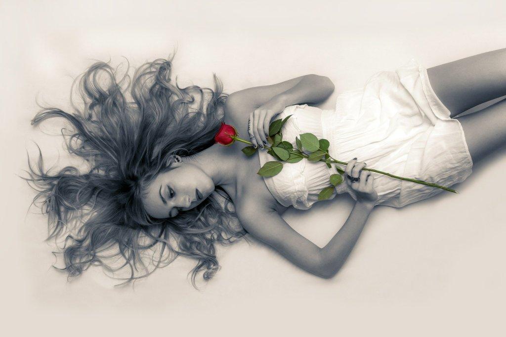 boudoir, rose, selective color, girl, woman, sexy,