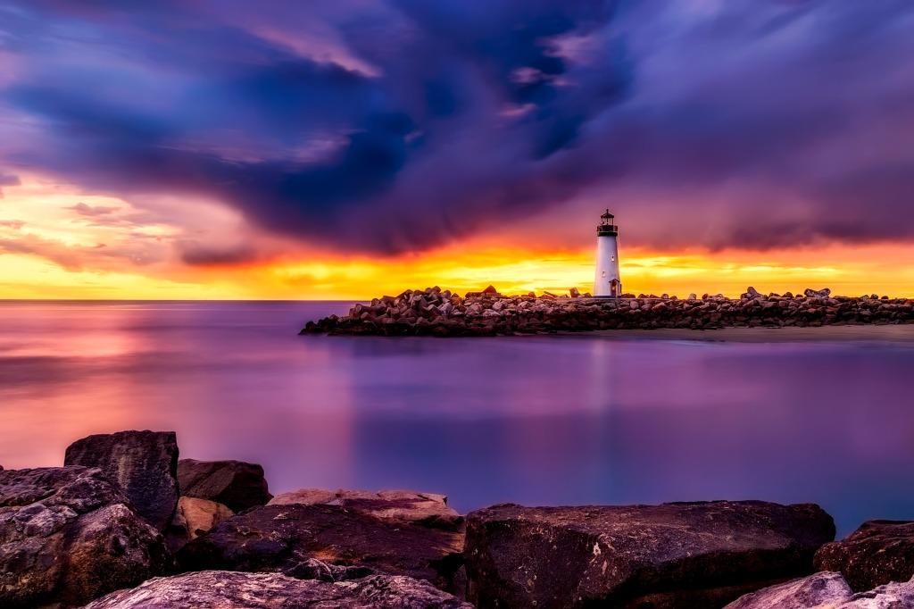 Lighthouse, sunset, coast, California,