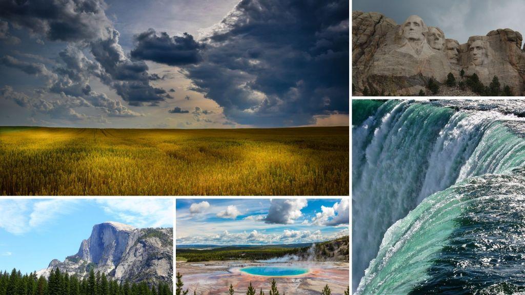 Water falls, Niagara Falls, Mount Rushmore, plains, Yellowstone, Oregon Trail,