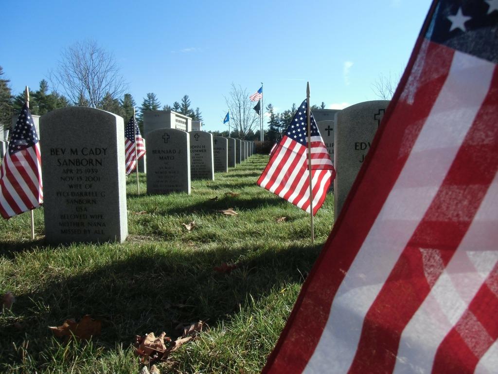 Flags, Graves, Veteran Cemetery,